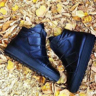 Жіночі черевики на застібках, натуральна шкіра. Тепла зима