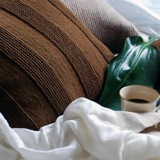 Вязанная подушка ручной работы 40х40 см
