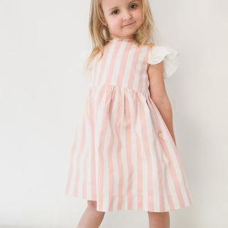 Платье на день рождения / полосатое платье / платье с бантом / платье с крыльями / льняное платье