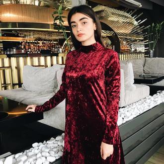 Платье из бархата цвет вино