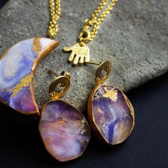Набор «Луна», серьги, кольцо и кулон из ювелирной смолы, подарок для любимой