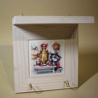 Ключница ручной работы с котиком на керамической плитке на стену