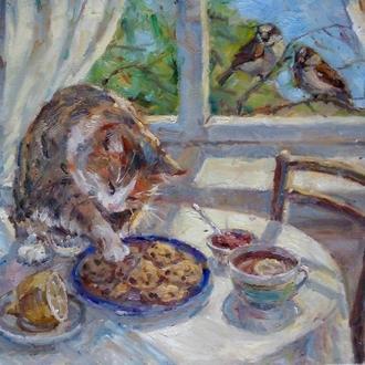 """Картина """"Завтрак кота"""" картина кот купить киев украина"""