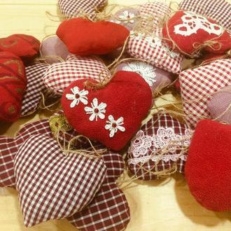 Текстильные интерьерные сердечки валентинки, презент ручной работы