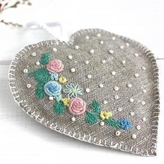 Ароматическое саше с лавандой Льняное сердечко валентинка с инициалами