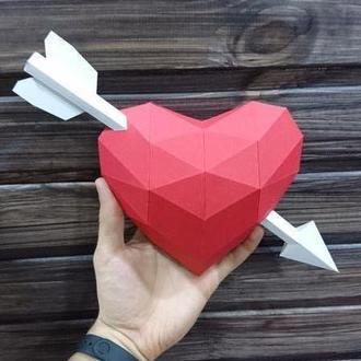 Валентинка - полигональная фигура из бумаги