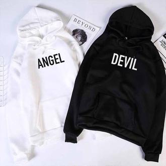 Парні толстовки з написом DEVIL-ANGEL