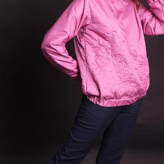 Бомбер розовый с вышивкой, размер 44 m
