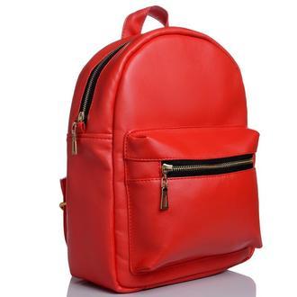 Женский красный рюкзак для прогулок, кожзам
