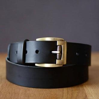 Мужской кожаный ремень под джинсы_ Качественный  черный мужской ремень из кожи_Подарок мужчине