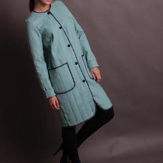 Пальто мятное в японском стиле. Размер 42 s.