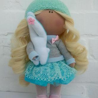 Інтер'єрна лялька блакитна м'ята