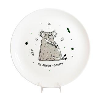 Тарелка На диету завтра зеленый