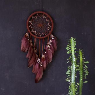 Коричневый ловец снов оберёг, индийский амулет, ловец снов для парня или девушки
