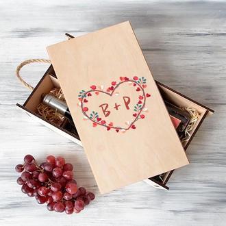 Коробка для вина на 2 бутылки «Сердечко»