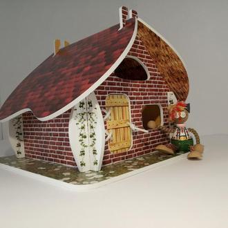 Сказочный домик для кукол 2в1 ДВА в ОДНОМ - Соломенный и Кирпичный