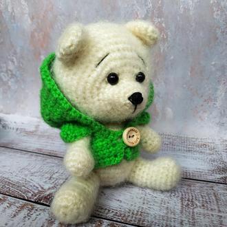 Вязанный белый медвежонок в худи
