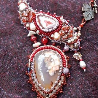 Кольє Осінні квіти Bib necklace Natural gemstones