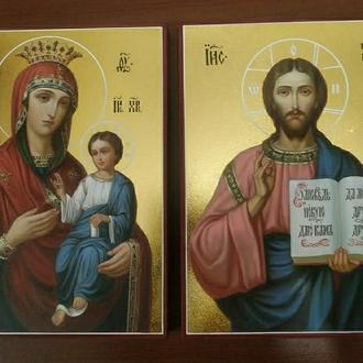 """Парные венчальные иконы """"Спаситель"""" и """"Пресвятая Богородица"""""""