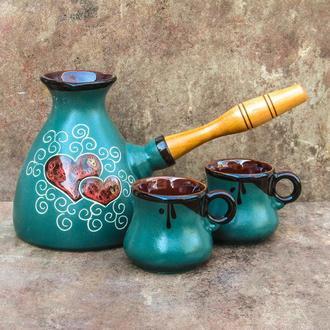 Набір кавовий Великий 500 мл. декор Серце зелений