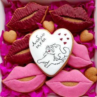 Набор медовых пряников сердечко и поцелуи