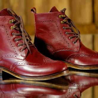 """Мужские ботинки """"Броги"""" из натуральной кожи ручная работа"""