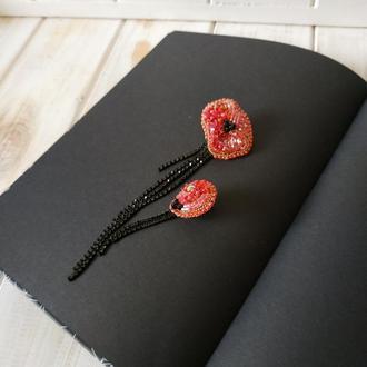 Асиметричні сережки Маки. Вечерние асимметричные серьги Мак. Моносерьга. Нарядные розовые серьги.