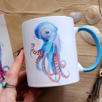 """Чашка с авторской иллюстрацией """" Осьминог"""""""