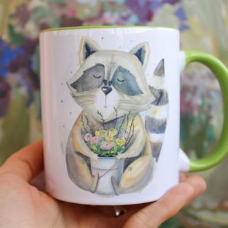 """Чашка с Енотом """" Весна-это хороший повод для счастья"""""""