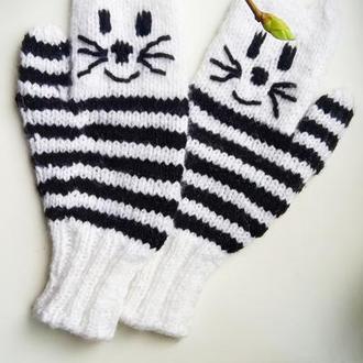 Перчатки котики на 5-7 лет
