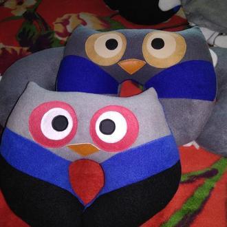 Подушка игрушка Совушка, подушка автомобильная, подушка в дорогу, подушка для чтения