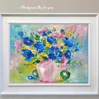 Картина маслом. Синие цветы! Холст на подрамнике. 50х40 см.