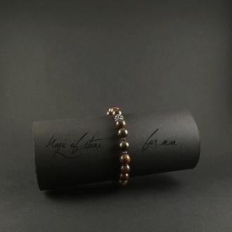 Чоловічий браслет з бронзита і срібла 925 пр.