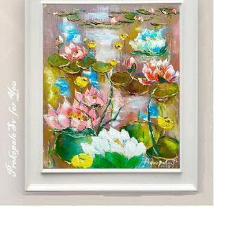 Картина маслом. Лилии на воде. Холст на подрамнике. 45х35см. Галерейная натяжка холста.