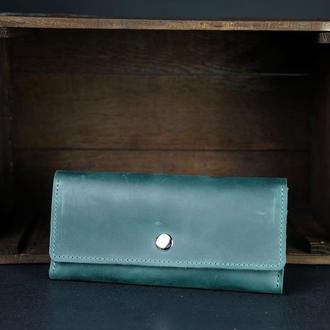 Кожаный кошелек на 12 карт, кожа Crazy Horse, цвет Зеленый