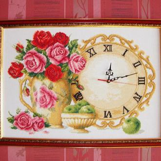 Картина-Часы Розы с яблоками