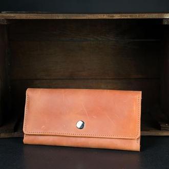 Кожаный кошелек на 12 карт, кожа Crazy Horse, цвет Коньяк