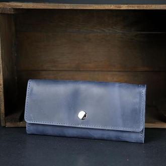 Кожаный кошелек на 12 карт, кожа Crazy Horse, цвет Синий