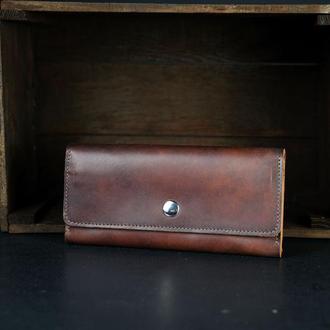 Кожаный кошелек на 12 карт, кожа краст, цвет Вишня