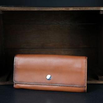 Кожаный кошелек на 12 карт, кожа краст, цвет Коричневый