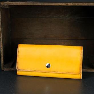 Шкіряний гаманець на 12 карток, шкіра краст, колір Бурштин