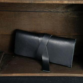 Шкіряний гаманець, Клатч з закруткою, шкіра краст, колір Чорний