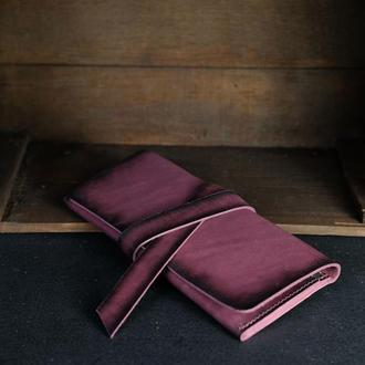Кожаный кошелек, Клатч с закруткой, кожа краст, цвет Бордо