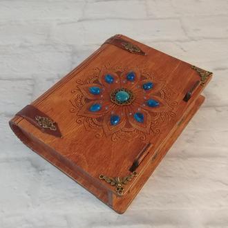Шкатулка-книжка с камнями деревянная визитница шкатулка-книга