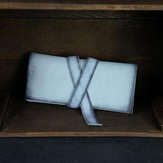 Кожаный кошелек, Клатч с закруткой, кожа краст, цвет Серо-голубой