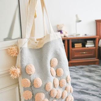 Экосумка-тоте на плечо в ковровой технике / женская сумка / шоппер / сумка для покупок