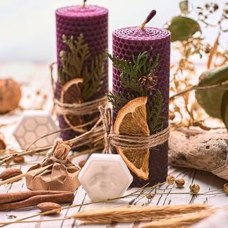 Фиолетовые натуральные свечи из вощины, медовый набор для оригинальных подарков и декорирования дома