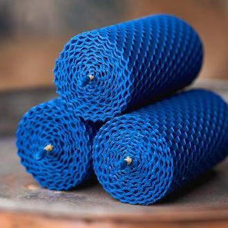Натуральные свечи из вощины синьго цвета, 3 синие свечи и мыло в наборе для подарка и декора