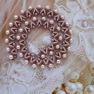 Колье, ожерелье, намисто Капучино из бисера ручной работы