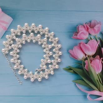 Колье, ожерелье, намисто белое из бисера